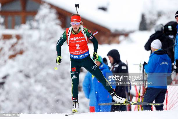 Laura Dahlmeier of Germany in action during the IBU Biathlon World Cup Men's and Women's Pursuit on December 16 2017 in Le Grand Bornand France