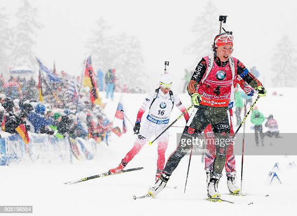 Laura Dahlmeier of Germany in action during the Women's 125km Biathlon race of the Ruhpolding IBU Biathlon World Cup on January 16 2016 in Ruhpolding...