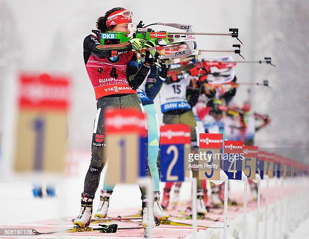 Laura Dahlmeier of Germany in action on the shooting range during the Women's 125km Biathlon race of the Ruhpolding IBU Biathlon World Cup on January...