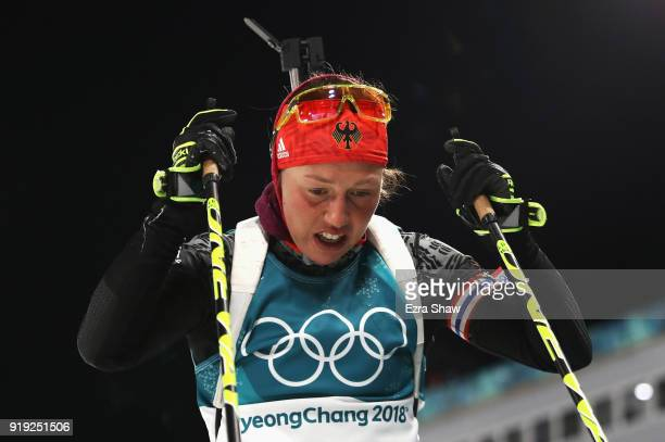 Laura Dahlmeier of Germany looks dejected after the Women's 125km Mass Start Biathlon on day eight of the PyeongChang 2018 Winter Olympic Games at...