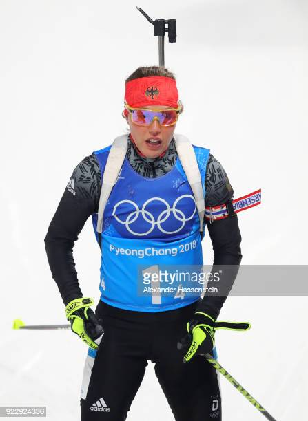 Laura Dahlmeier of Germany looks on after the Women's 4x6km Relay on day 13 of the PyeongChang 2018 Winter Olympic Games at Alpensia Biathlon Centre...