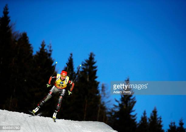 Laura Dahlmeier of Germany on her way to the silver medal in the women's 75km sprint competition of the IBU World Championships Biathlon 2017 at the...