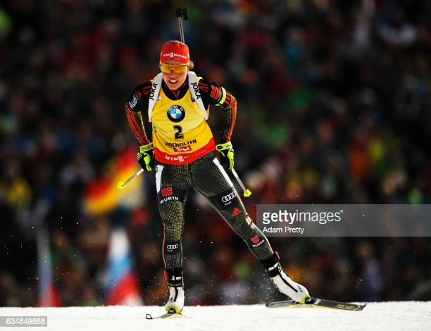 Laura Dahlmeier of Germany on her way to victory during the women's 10km pursuit competition of the IBU World Championships Biathlon 2017 at the...