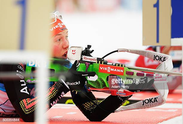 Laura Dahlmeier of Germany on the shooting range during Women's 4x 6km relay on Day 5 of the IBU Biathlon WOrld Cup Ruhpolding on January 17 2016 in...