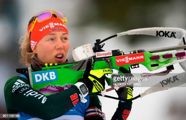 Laura Dahlmeier of Germany performs at the shooting range during the warm up ahead of the women's 75 km sprint event at the IBU Biathlon World Cup in...