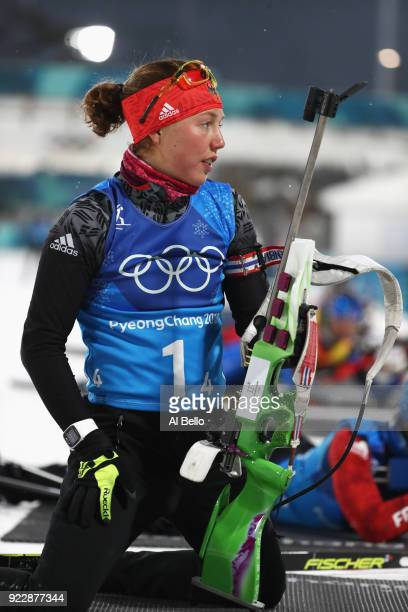 Laura Dahlmeier of Germany practice prior to the Women's 4x6km Relay on day 13 of the PyeongChang 2018 Winter Olympic Games at Alpensia Biathlon...