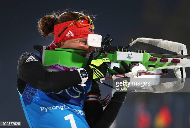 Laura Dahlmeier of Germany practices shooting prior to the Women's 4x6km Relay on day 13 of the PyeongChang 2018 Winter Olympic Games at Alpensia...