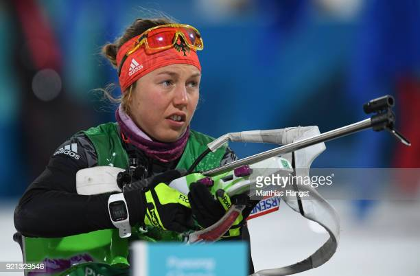 Laura Dahlmeier of Germany prepares to shoot during the Biathlon 2x6km Women 2x75km Men Mixed Relay on day 11 of the PyeongChang 2018 Winter Olympic...