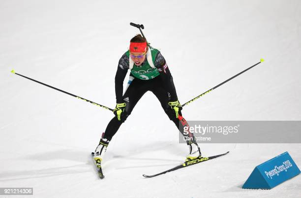Laura Dahlmeier of Germany reacts after completing the second leg during the Biathlon 2x6km Women 2x75km Men Mixed Relay on day 11 of the PyeongChang...