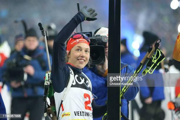 Laura Dahlmeier of Germany reacts after the Biathlon World Team Challenge at Veltins Arena on December 28, 2019 in Gelsenkirchen, Germany.