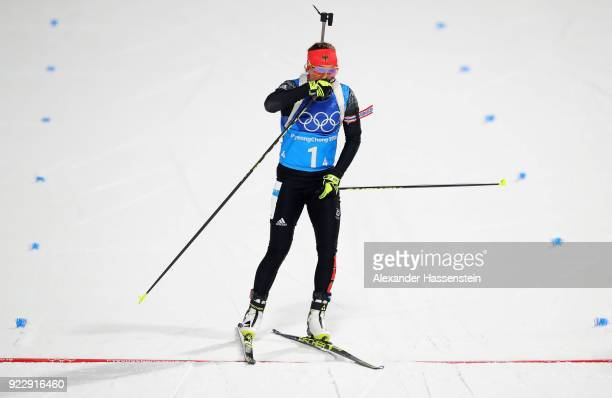 Laura Dahlmeier of Germany reacts as she crosses the finish line during the Women's 4x6km Relay on day 13 of the PyeongChang 2018 Winter Olympic...