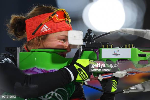 Laura Dahlmeier of Germany shoots during the Biathlon 2x6km Women 2x75km Men Mixed Relay on day 11 of the PyeongChang 2018 Winter Olympic Games at...