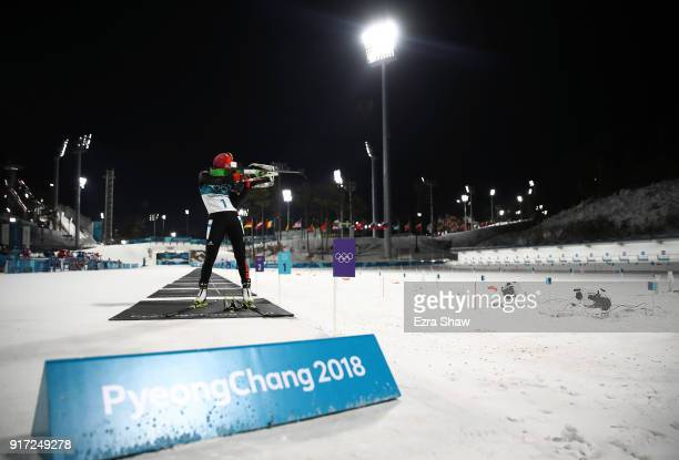 Laura Dahlmeier of Germany shoots during the Women's Biathlon 10km Pursuit on day three of the PyeongChang 2018 Winter Olympic Games at Alpensia...