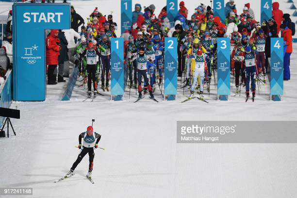 Laura Dahlmeier of Germany starts off the Women's Biathlon 10km Pursuit on day three of the PyeongChang 2018 Winter Olympic Games at Alpensia...