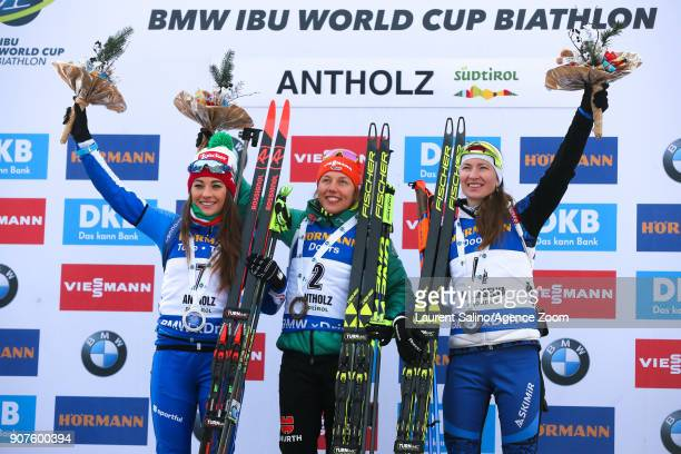 Laura Dahlmeier of Germany takes 1st place Dorothea Wierer of Italy takes 2nd place Darya Domracheva of Belarus takes 3rd place during the IBU...