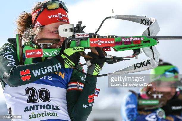 Laura Dahlmeier of Germany takes 1st place during the IBU Biathlon World Cup Men's and Women's Mass Start on January 27, 2019 in Antholz Anterselva,...