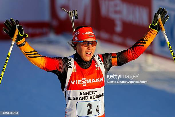 Laura Dahlmeier of Germany takes 1st place during the IBU Biathlon World Cup Women's Relay on December 12, 2013 in Annecy-Le Grand Bornand, France.