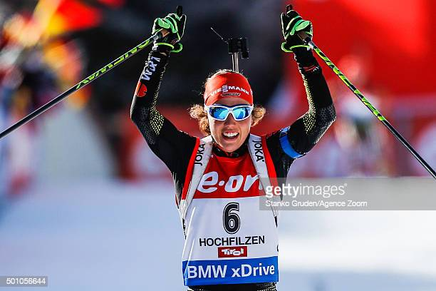 Laura Dahlmeier of Germany takes 1st place during the IBU Biathlon World Cup Men's and Women's Pursuit on December 12, 2015 in Hochfilzen, Austria.