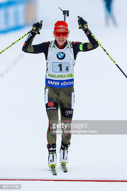 Laura Dahlmeier of Germany takes 1st place during the IBU Biathlon World Cup Men's and Women's Relay on December 11, 2016 in Pokljuka, Slovenia.