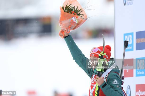 Laura Dahlmeier of Germany takes 1st place during the IBU Biathlon World Cup Men's and Women's Pursuit on December 16, 2017 in Le Grand Bornand,...