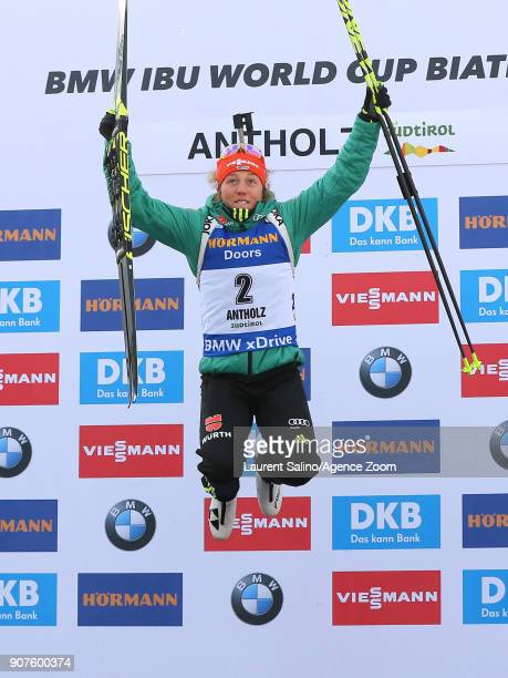 Laura Dahlmeier of Germany takes 1st place during the IBU Biathlon World Cup Men's and Women's Pursuit on January 20 2018 in AntholzAnterselva Italy