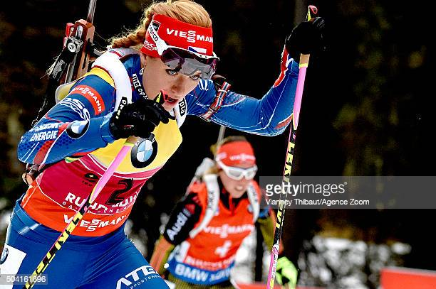 Laura Dahlmeier of Germany takes 1st place Gabriela Soukalova of the Czech Republic takes 2nd place during the IBU Biathlon World Cup Men's and...