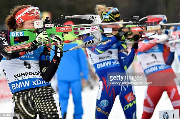 Laura Dahlmeier of Germany takes 1st place Marie Dorin Habert of France takes 2nd place Tiril Eckhoff of Norway takes 3rd place during the IBU...