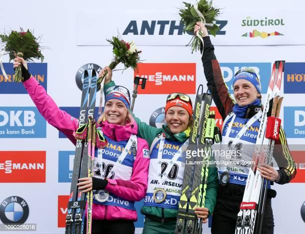 Laura Dahlmeier of Germany takes 1st place, Marketa Davidova of Czech Republic takes 2nd place, Vanessa Hinz of Germany takes 3rd place during the...