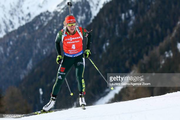 Laura Dahlmeier of Germany takes 2nd place during the IBU Biathlon World Cup Men's and Women's Pursuit on January 26 2019 in Antholz Anterselva Italy