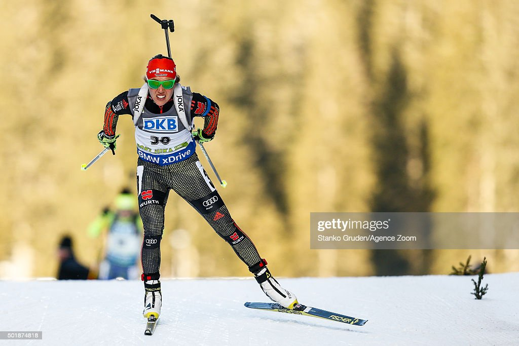 Laura Dahlmeier of Germany takes 2nd place during the IBU Biathlon World Cup Women's Sprint on December 18, 2015 in Pokljuka, Slovenia.