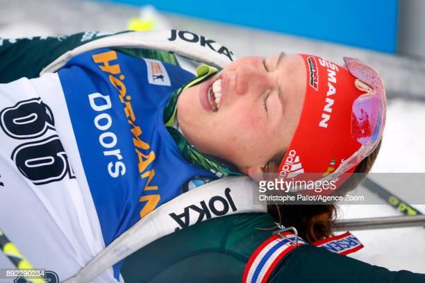 Laura Dahlmeier of Germany takes 2nd place during the IBU Biathlon World Cup Women's Sprint on December 14 2017 in Le Grand Bornand France