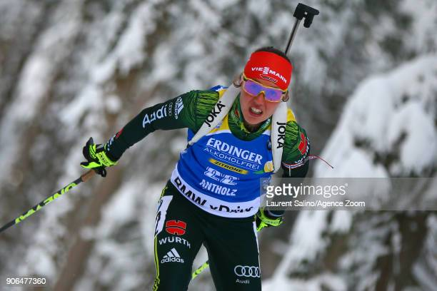Laura Dahlmeier of Germany takes 2nd place during the IBU Biathlon World Cup Women's Sprint on January 18, 2018 in Antholz-Anterselva, Italy.