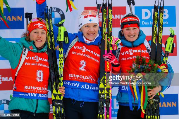Laura Dahlmeier of Germany takes 2nd place Kaisa Makarainen of Finland takes 1st place Veronika Vitkova of Czech Republic takes 2nd place during the...