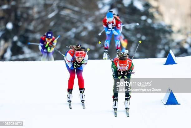 Laura Dahlmeier of Germany takes 3rd place during the IBU Biathlon World Cup Women's Relay on January 19, 2019 in Ruhpolding, Germany.