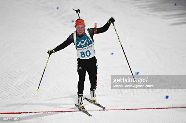 Laura Dahlmeier of Germany wins the bronze medal during the Biathlon Women's 15km Individual at Alpensia Biathlon Centre on February 15 2018 in...