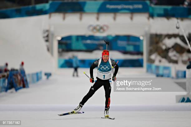 Laura Dahlmeier of Germany wins the gold medal during the Biathlon Men's and Women's Pursuit at Alpensia Biathlon Centre on February 12 2018 in...