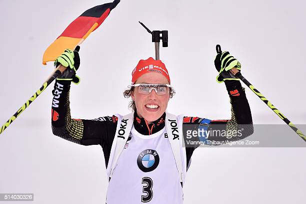 Laura Dahlmeier of Germany wins the gold medal during the IBU Biathlon World Championships Men's and Women's Pursuit on March 6, 2016 in Oslo, Norway.
