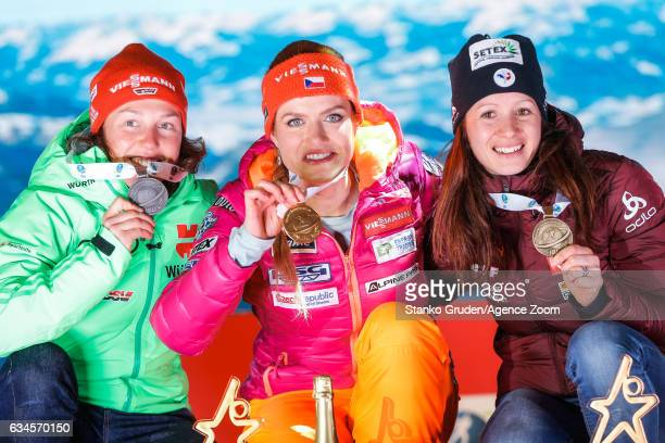 Laura Dahlmeier of Germany wins the silver medal Gabriela Koukalova of Czech Republic wins the gold medal Anais Chevalier of France wins the bronze...