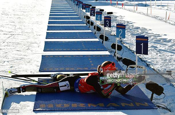 Laura Dahlmeier of team Germany competes during the Biathlon World Cup Women's 4x6 km relay race in Anterselva on January 22 2017 Germany won the...