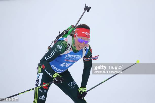 Laura Dahlnmeier of Germany reacts after crossing the finish line during the Women's 15km race at the IBU Biathlon World Championships at Swedish...