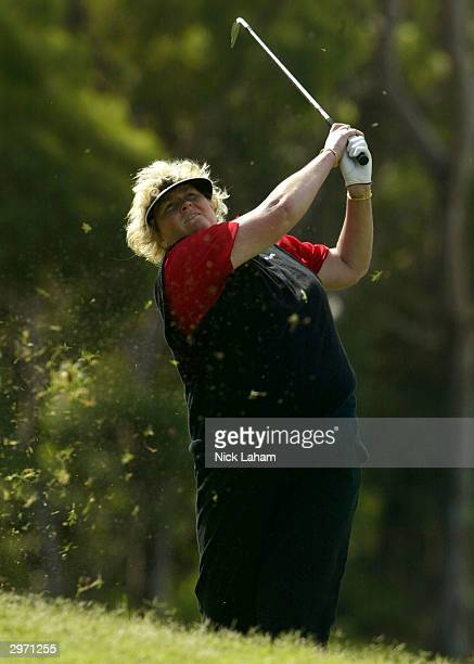 Laura Davies of Britain hits from the rough during day one of the ANZ Championship at Horizons Golf Resort February 12 2004 in Salamander Bay...