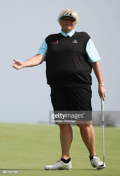 Laura Davies of Englad reacts to a missed putt on the seventh green during the first round of the US Senior Women's Open at Chicago Golf Club on July...