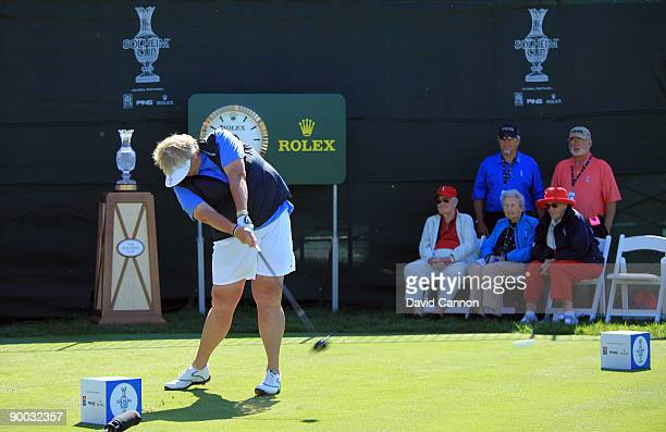 Laura Davies of England and the European Team tees off at the 1st hole during the Sunday singles matches at the 2009 Solheim Cup Matches at the Rich...