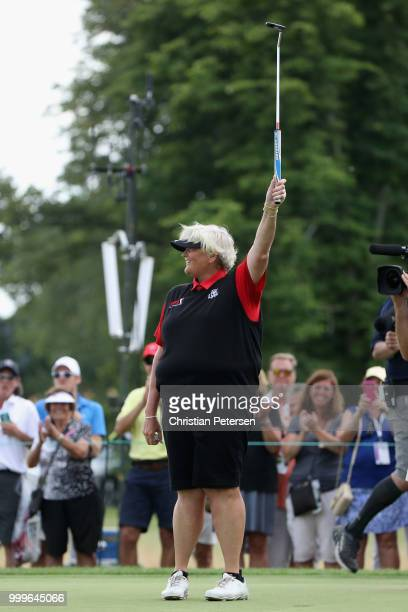 Laura Davies of England celebrates after winning the US Senior Women's Open at Chicago Golf Club on July 15 2018 in Wheaton Illinois