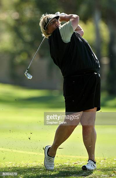 Laura Davies of England hits from the rough on the 15th hole during the first round of the Kraft Nabisco Championship at Mission Hills Country Club...