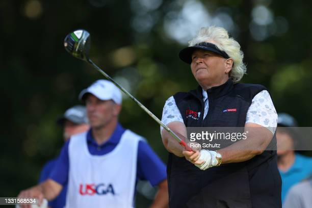 """Laura Davies of England hits her tee shot on the 18th hole during the second round of the U.S. Senior Women""""u2019s Open Championship on July 30, 2021..."""