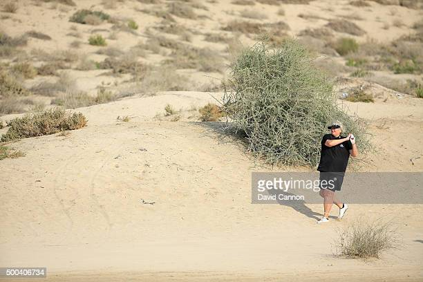 Laura Davies of England in action during the pro-am as a preview for the 2015 Omega Dubai Ladies Masters on the Majlis Course at The Emirates Golf...