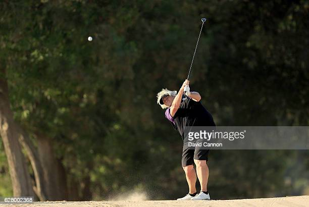 Laura Davies of England in action during the proam as a preview for the 2016 Omega Dubai Ladies Masters on the Majlis Course at the Emirates Golf...