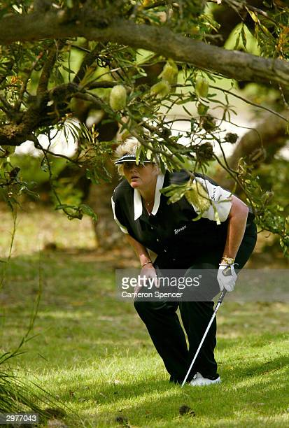 Laura Davies of England looks to the green from the rough during day two of the ANZ Championship at Horizons Golf Resort February 13 2004 in...