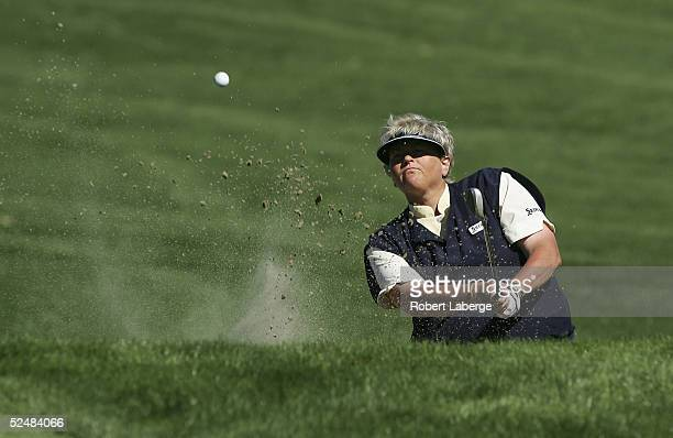 Laura Davies of England makes a shot out of a bunker on the second hole during the third round of the LPGA Kraft Nabisco Championship 2005 at the...